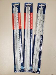 Set of 3 Scale Rulers with various graduations