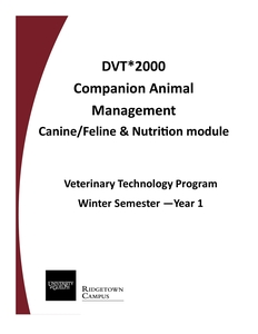 VTA Canine/Feline & Nutrition Manual