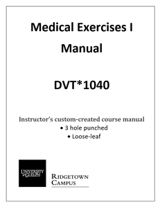 Medical Exercises I Manual